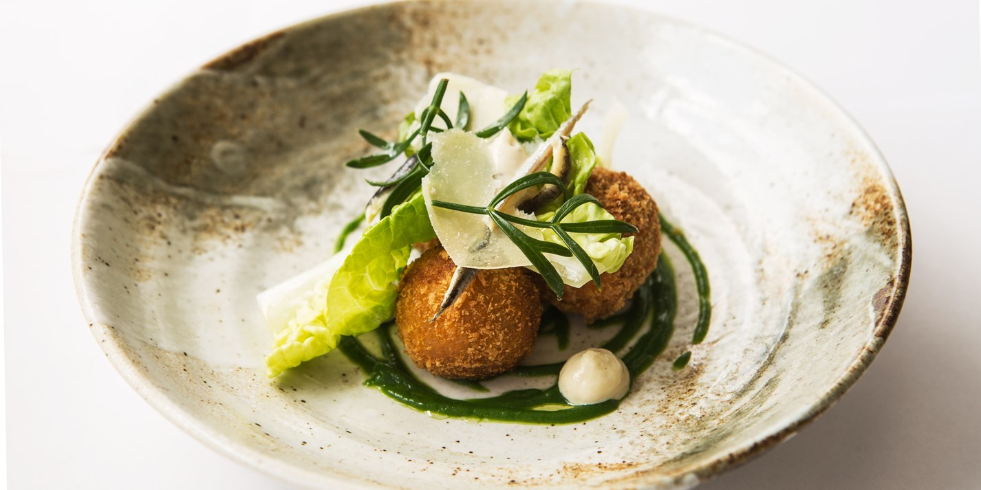 Caesar salad croquettes recipe great british chefs for French starters vegetarian