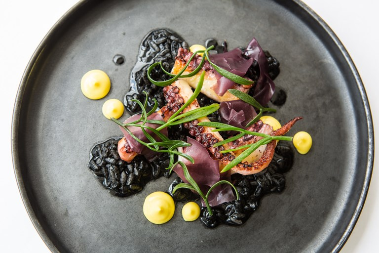 Sous Vide Octopus With Black Risotto Recipe Great