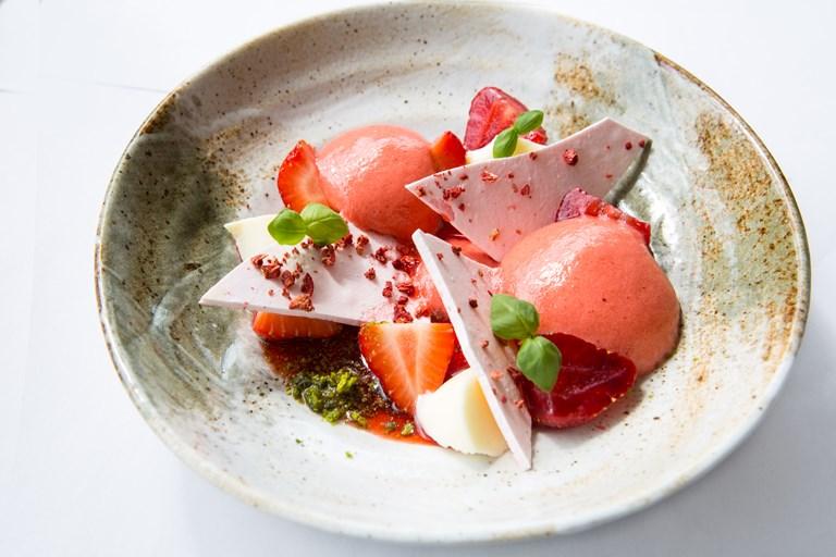 Strawberry And Douglas Fir Panna Cotta Recipe Great British Chefs