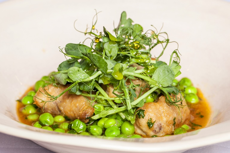 Launceston lamb sweetbreads with Coles Farm peas