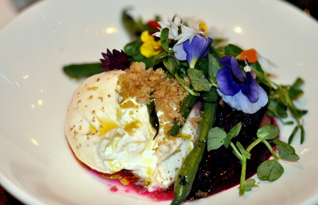 Burrata, beetroot, gooseberries