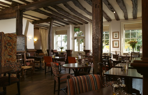Charming interior of the 18th century Old Vine pub and restaurant building