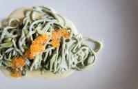 Spaghettini with herbs and 'battuda di malga'