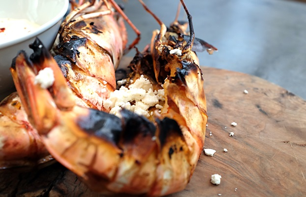 Roasted giant gulf prawns