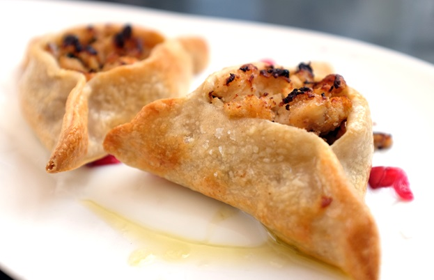 Chicken and date fatayer with pomegranate