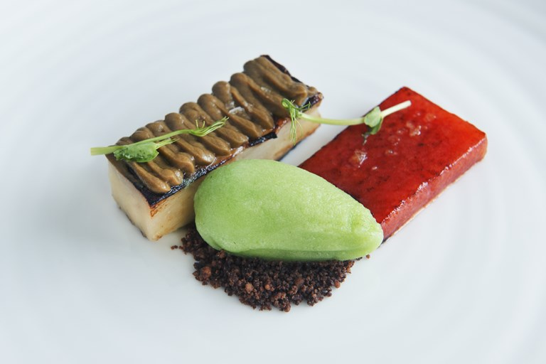 Grilled watermelon, aubergine, chocolate crumbs, cucumber and ginger ice cream