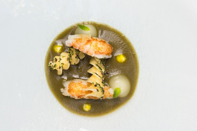 Langoustines with aubergine, seaweed and fusilloni
