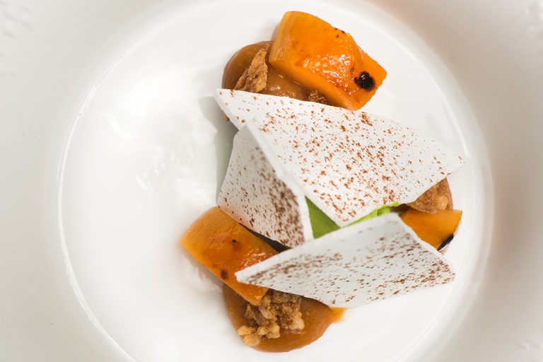 Apricots, mint ice cream and liquorice meringue
