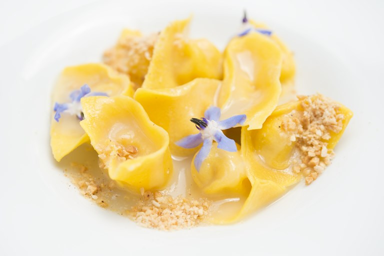 Tortelli filled with Parmesan, lavender, nutmeg and almond