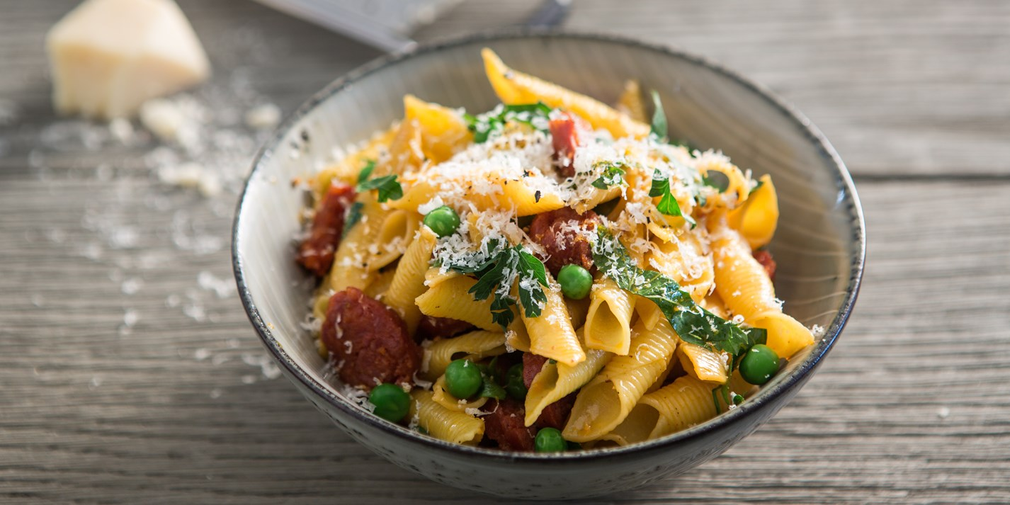 Chorizo And Pea Pasta Recipe Great British Chefs
