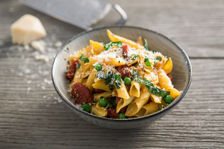 Garganelli pasta with chorizo and peas