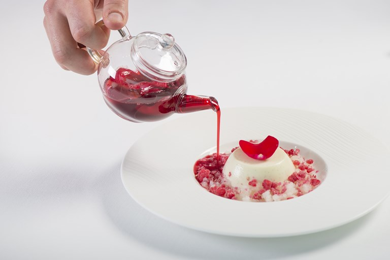 Buttermilk panna cotta, lychee, raspberry and rose