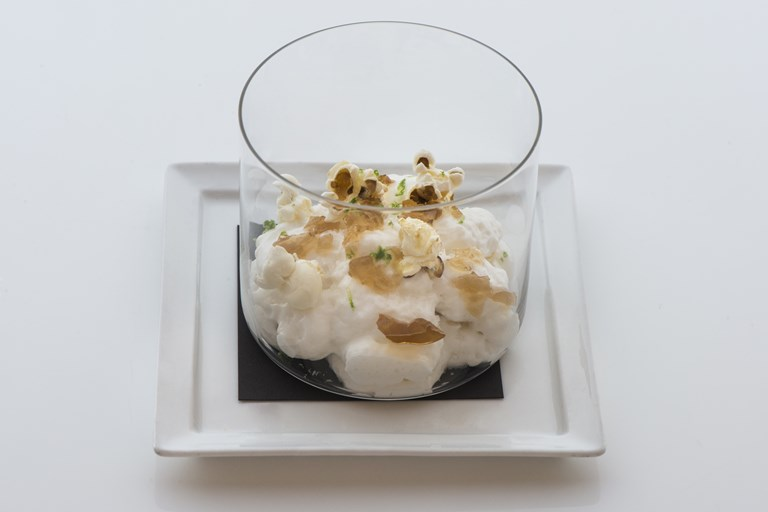 Coconut and lime mousse with rum jelly