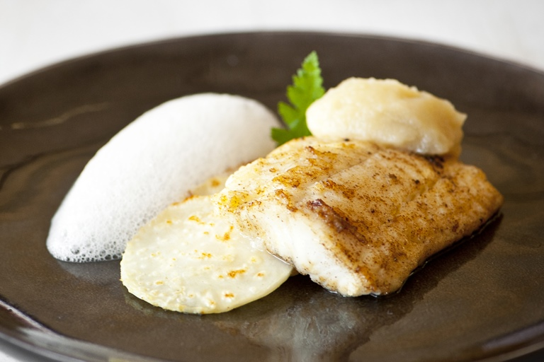 Plaice with celeriac, apple and lemongrass purée and cobnut foam