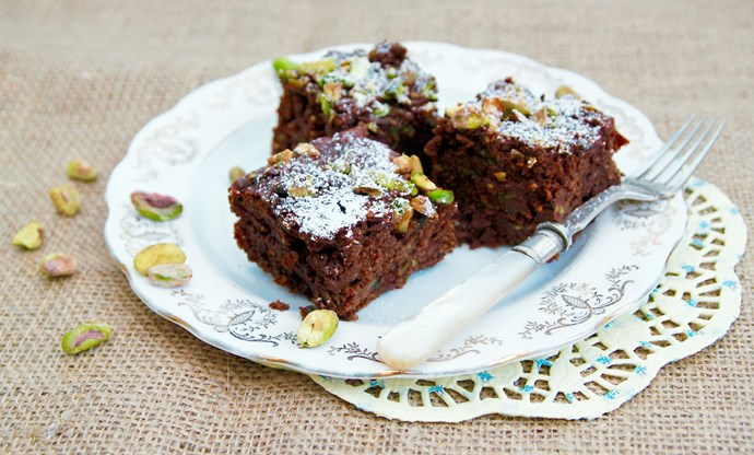 Courgette, cardamom and chocolate brownies