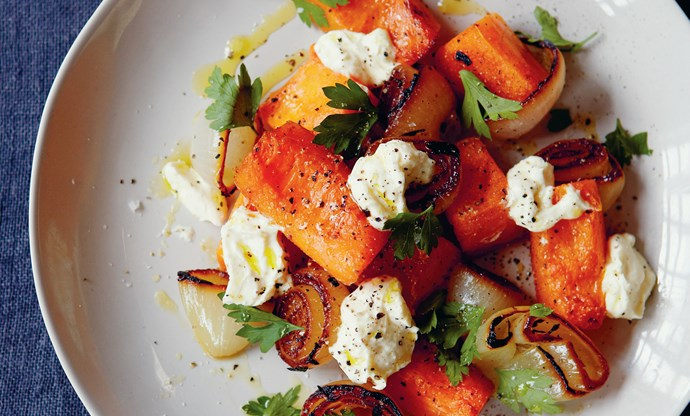 Roast pumpkin and charred onion salad
