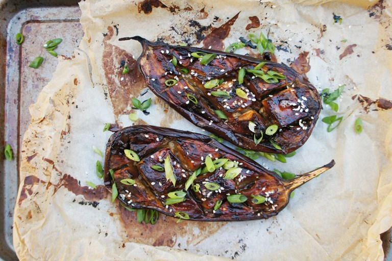 Miso and honey marinated roast aubergine