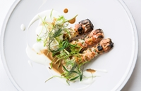 Chargrilled langoustines, bisque, buttermilk and pickled fennel