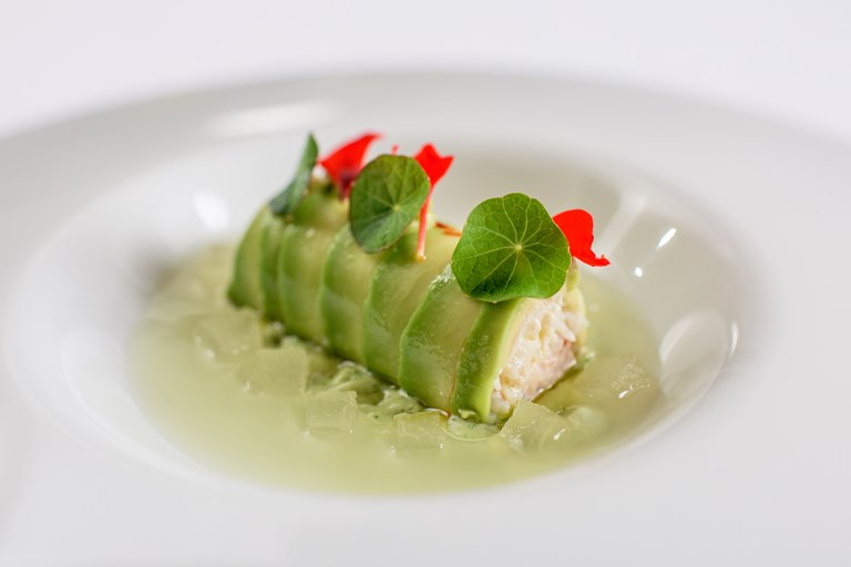 sous vide crab roulade and avocado mousse recipe great british chefs