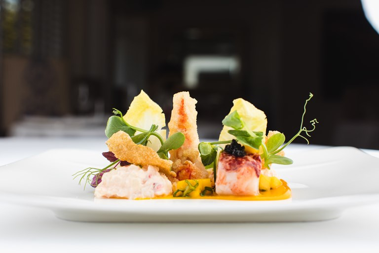 Salad of lobster, mango and basil and lobster tempura