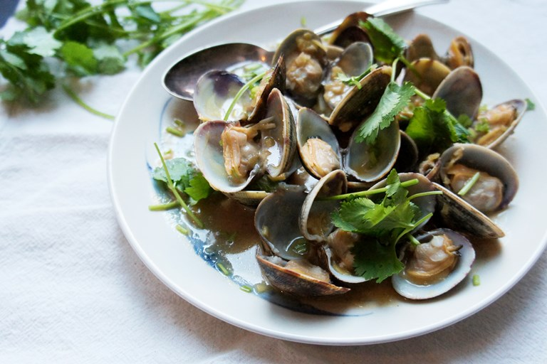 Steamed clams with miso and rice wine