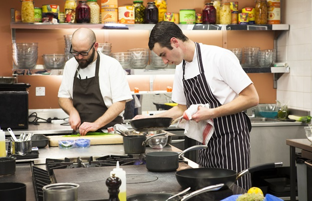 Richard Bainbridge and Jason Hodnett concentrate on their respective dishes