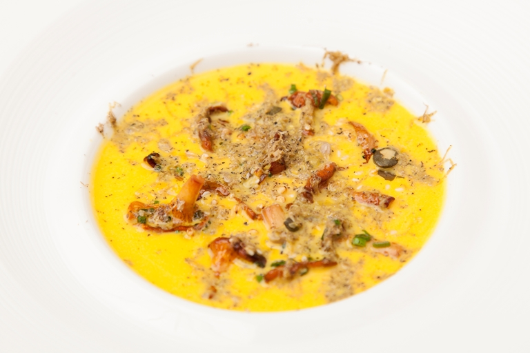 Pumpkin velouté with wild mushrooms