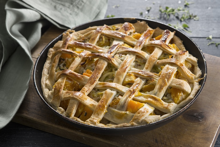 Savoury lattice pie, with butternut squash, leek, lemon and ricotta