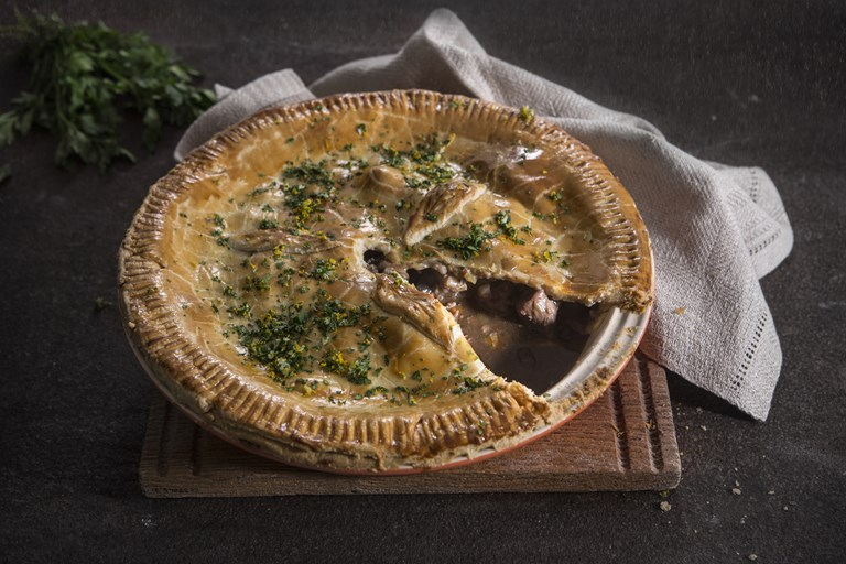 British game pie with orange and parsley gremolata