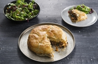 Spiced lamb and apricot filo pie