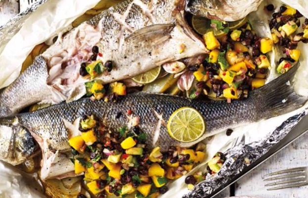 Bag-baked sea bass with mango and black bean salsa
