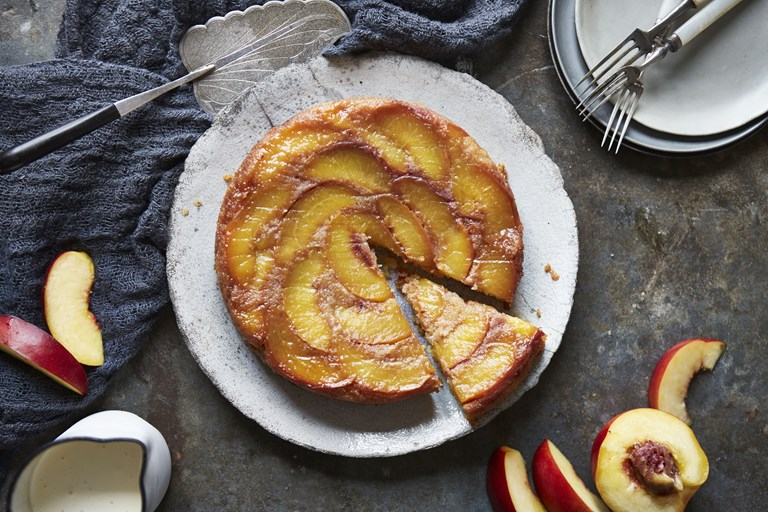 Nectarine and polenta upside-down cake