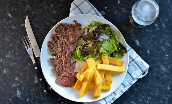 Bavette Steak With Polenta Chips Recipe Great British Chefs