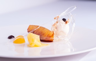 Vanilla and rum infused pineapple, pineapple jelly, Eccles cake ice cream