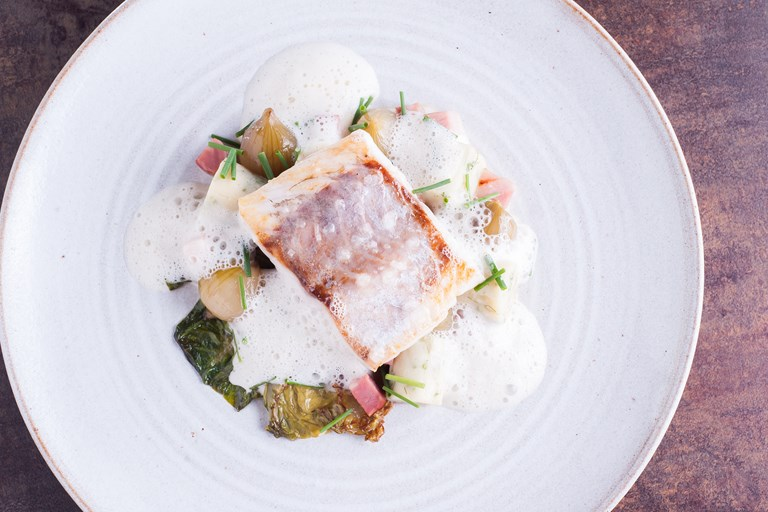 Sea bass with herb gnocchi recipe
