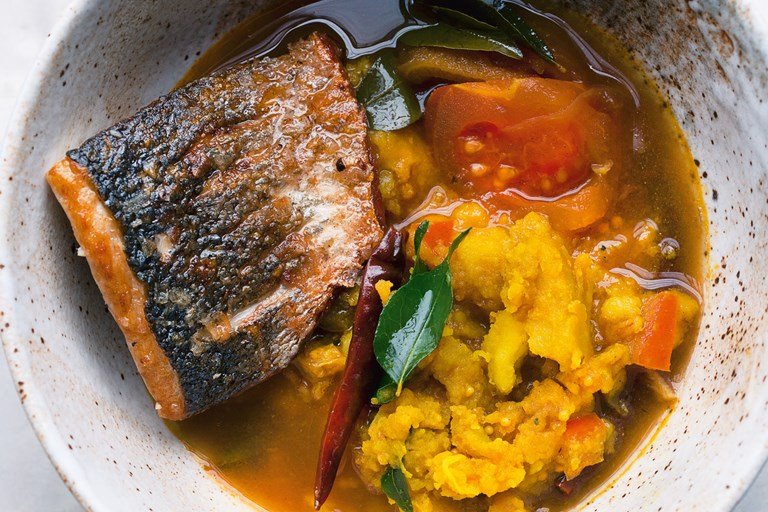 Sea bass and turmeric potatoes in rasam broth. Extracted from NOPI: The Cookbook by Yotam Ottolenghi and Ramael Scully. (Ebury Press, £28) Photography by Jonathan Lovekin