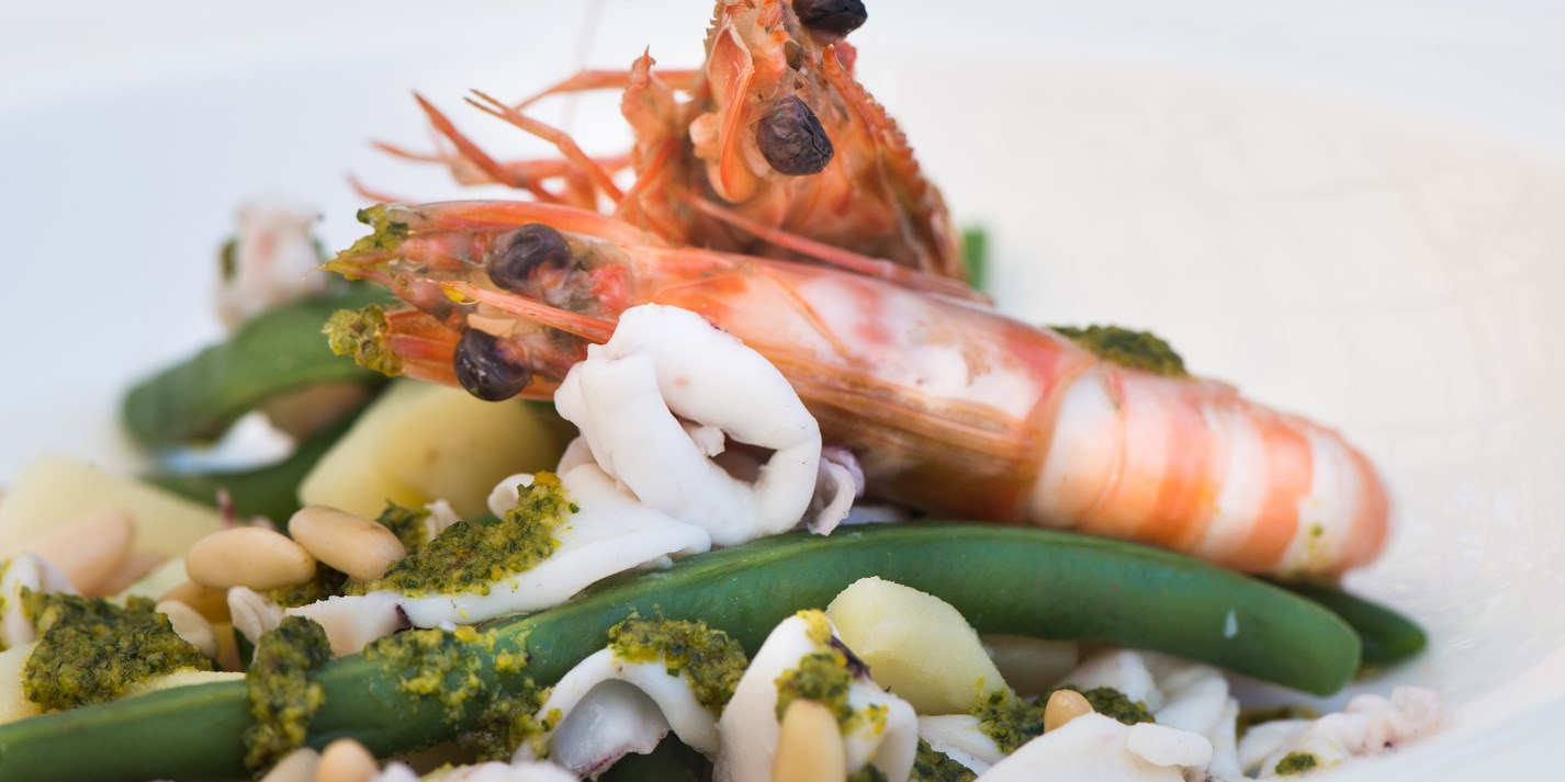 King prawns and squid with Ligurian sauce