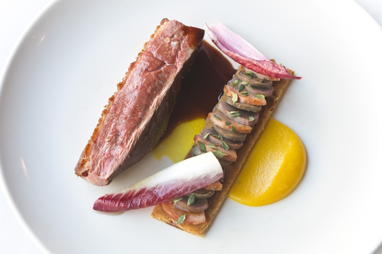 Roast duck, tart fine and orange
