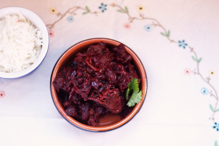 Dark spiced venison beetroot curry