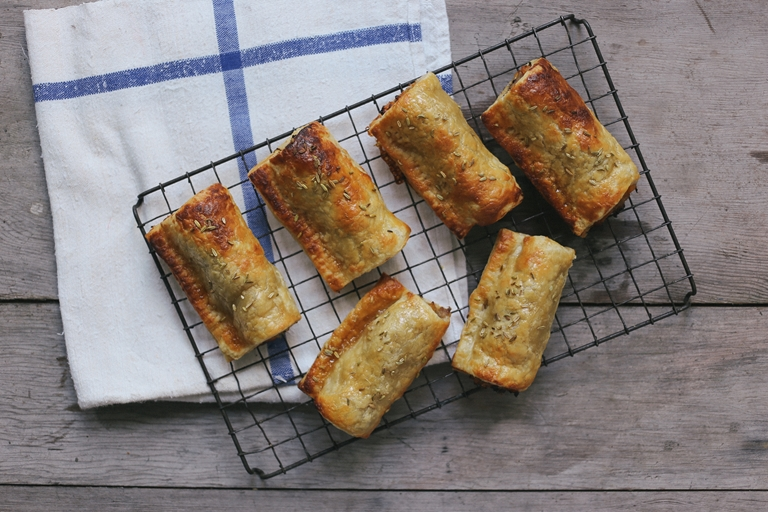 Apple glazed pork and apricot sausage rolls with fennel seeds