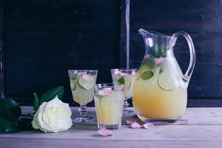 Rose water, apple and rhubarb mocktail recipe