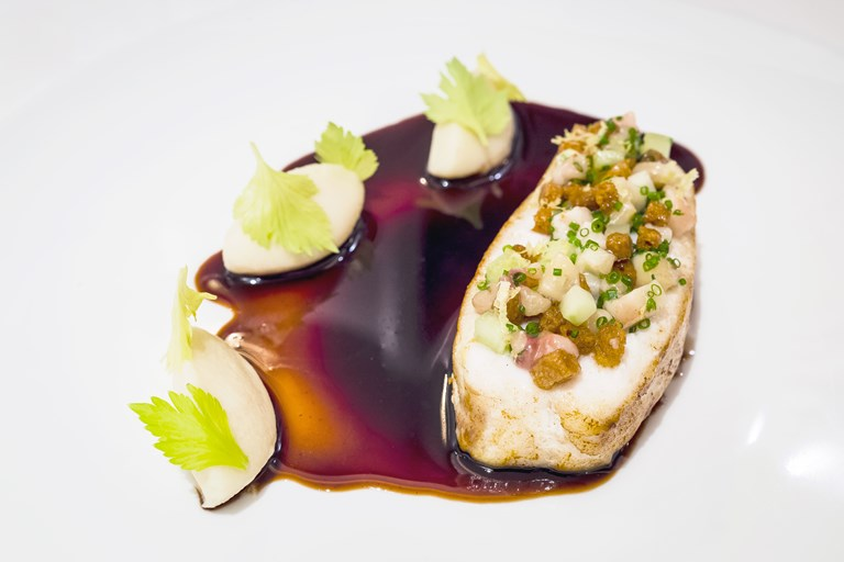Cornish turbot, marchand de vin sauce, bone marrow and celery