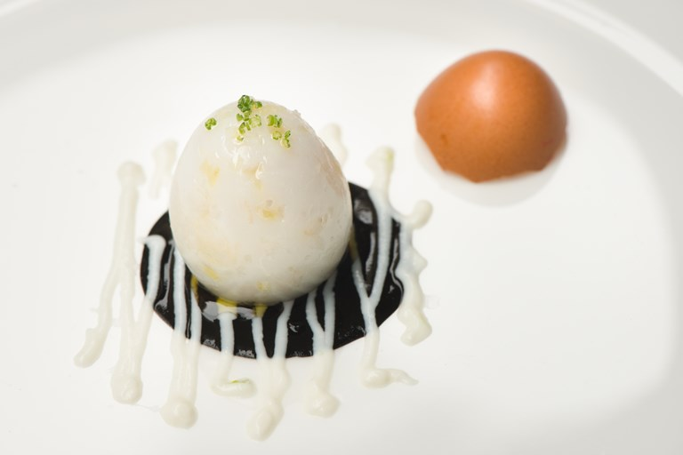 Cuttlefish egg with squid ink and ricotta