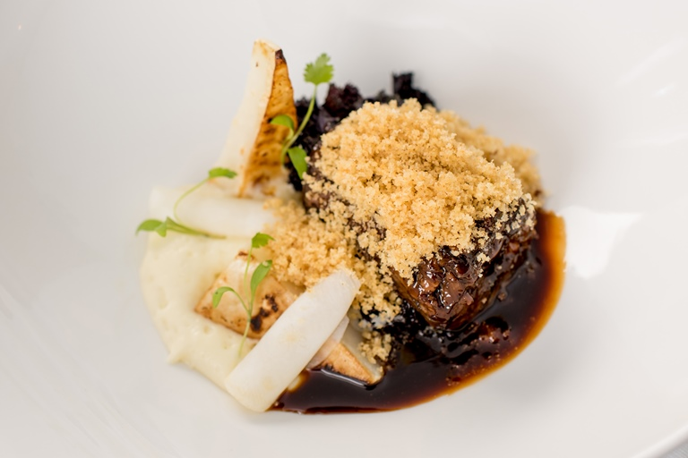 Braised oxtail, celeriac, espuma mash and douglas fir