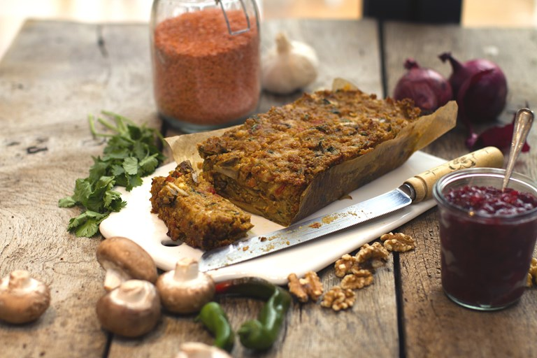 Spiced lentil, nut and vegetable roast recipe