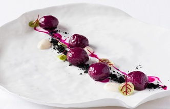 Beetroot gnocchi, beer soil and daikon cream recipe