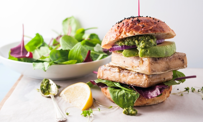 Tempura tofu steak burgers with coriander pesto
