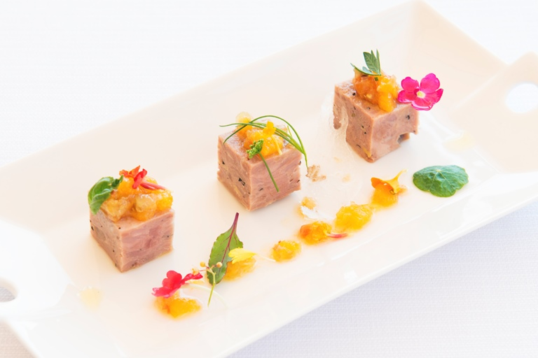 Suckling pig terrine with orange compote