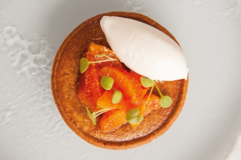 Treacle tart with blood orange