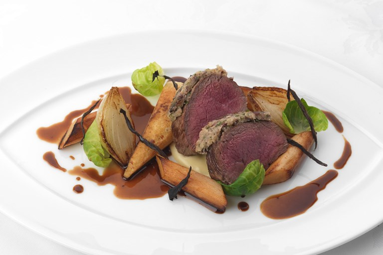 Black olive crusted Sika venison with salsify and parsnip